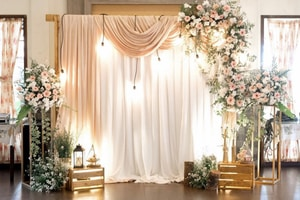 Beautiful wedding photo booth with great lighting and greenery props